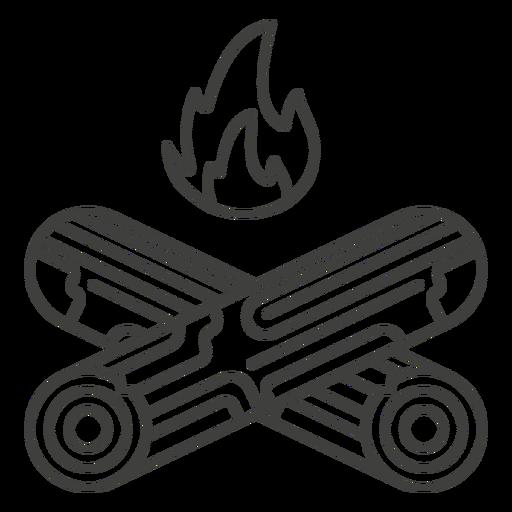 Lumberjack log fire stroke