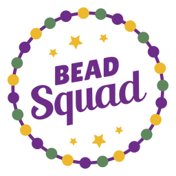 Mardigras bead squad color lettering