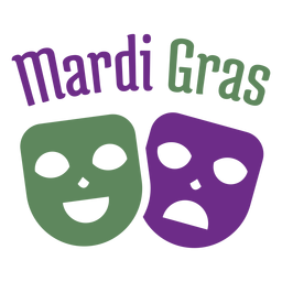 Letras de color de máscaras tristes felices de Mardigras