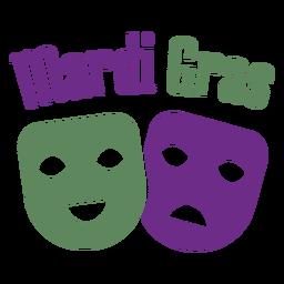 Mardigras happy sad masks color lettering