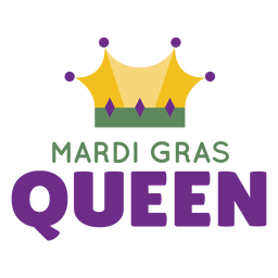 Mardigras queen crown color lettering