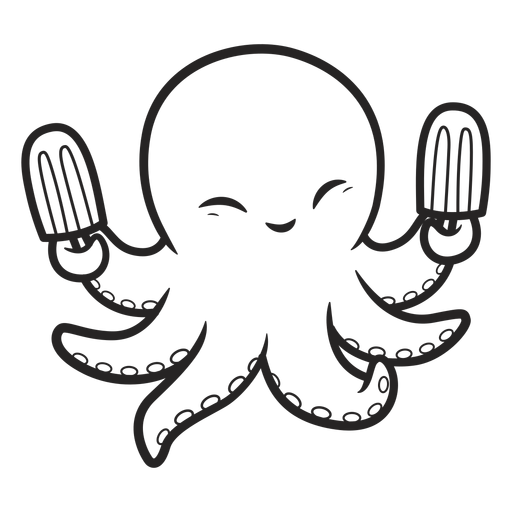 Octopus icecream bar happy stroke Transparent PNG