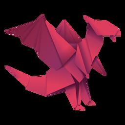 Ilustração de origami dragão vermelho