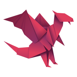 Origami dragon red illustration