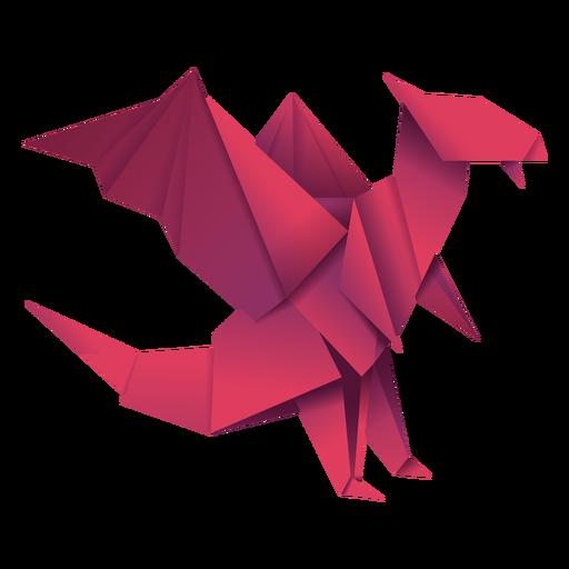 Ilustración de origami dragón rojo