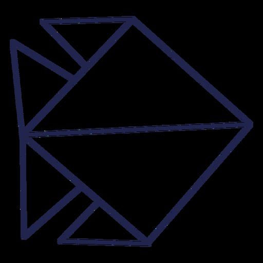 Pescado de trazo de pez de origami