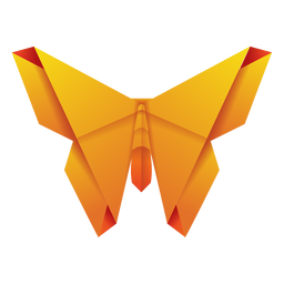 Origami moth yellow illustration