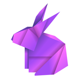 Origami rabbit purple illustration
