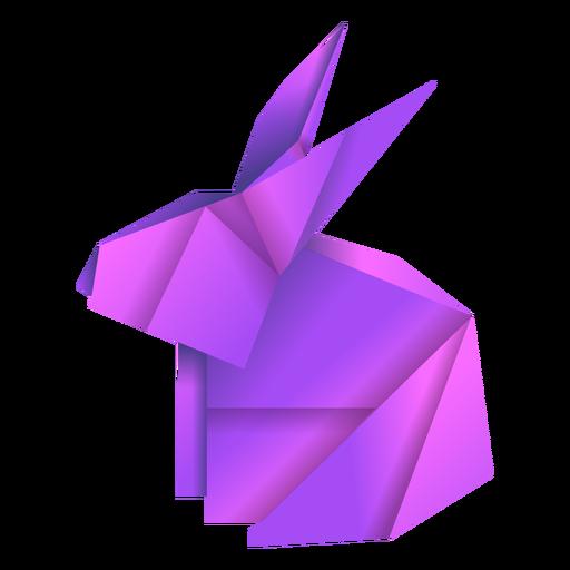 Ilustración de origami conejo púrpura