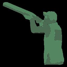 Hombre de tiro escopeta izquierda
