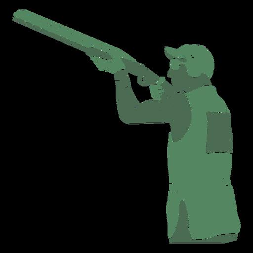 Shooting man shotgun left