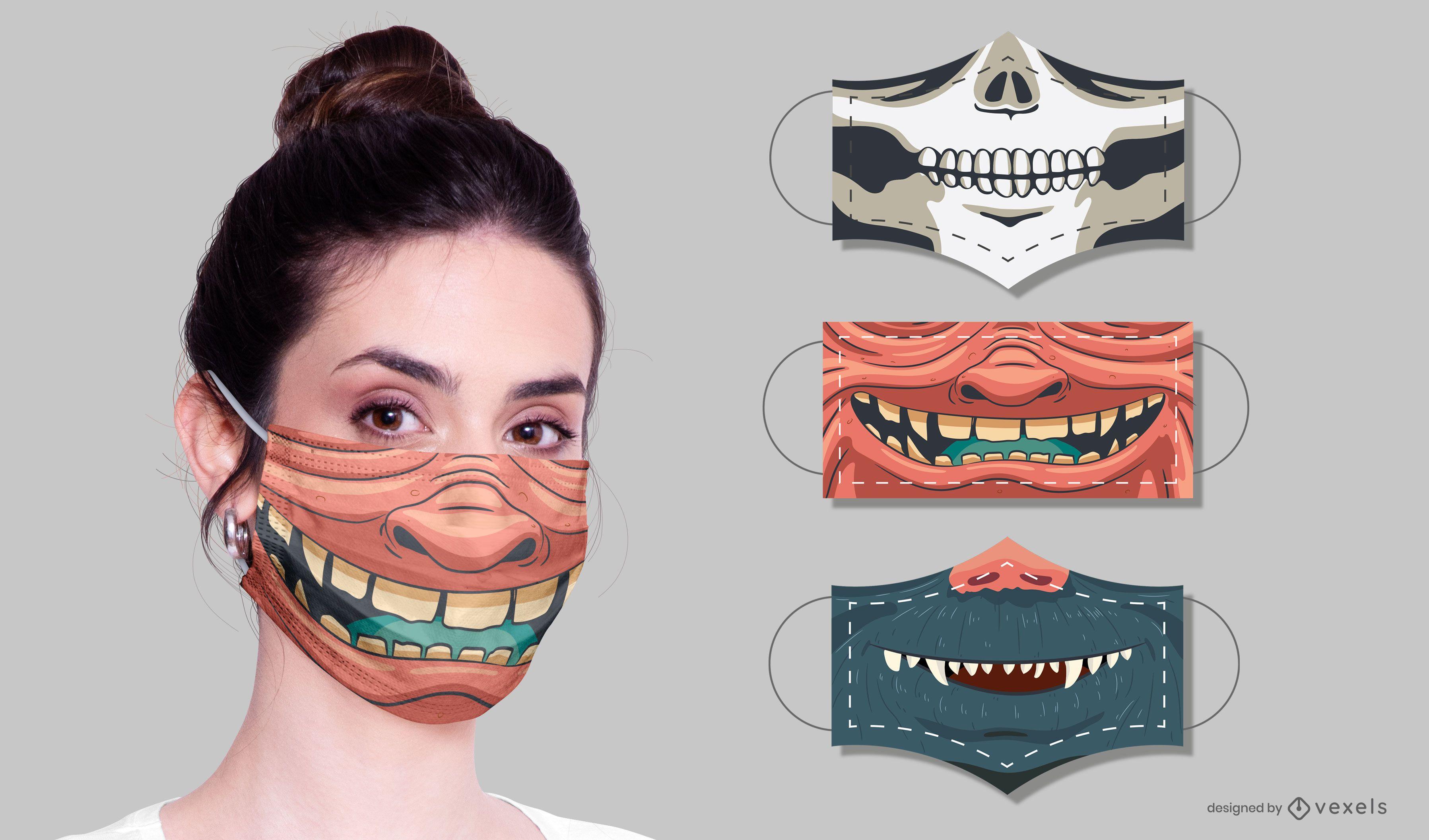 Monster face masks design set
