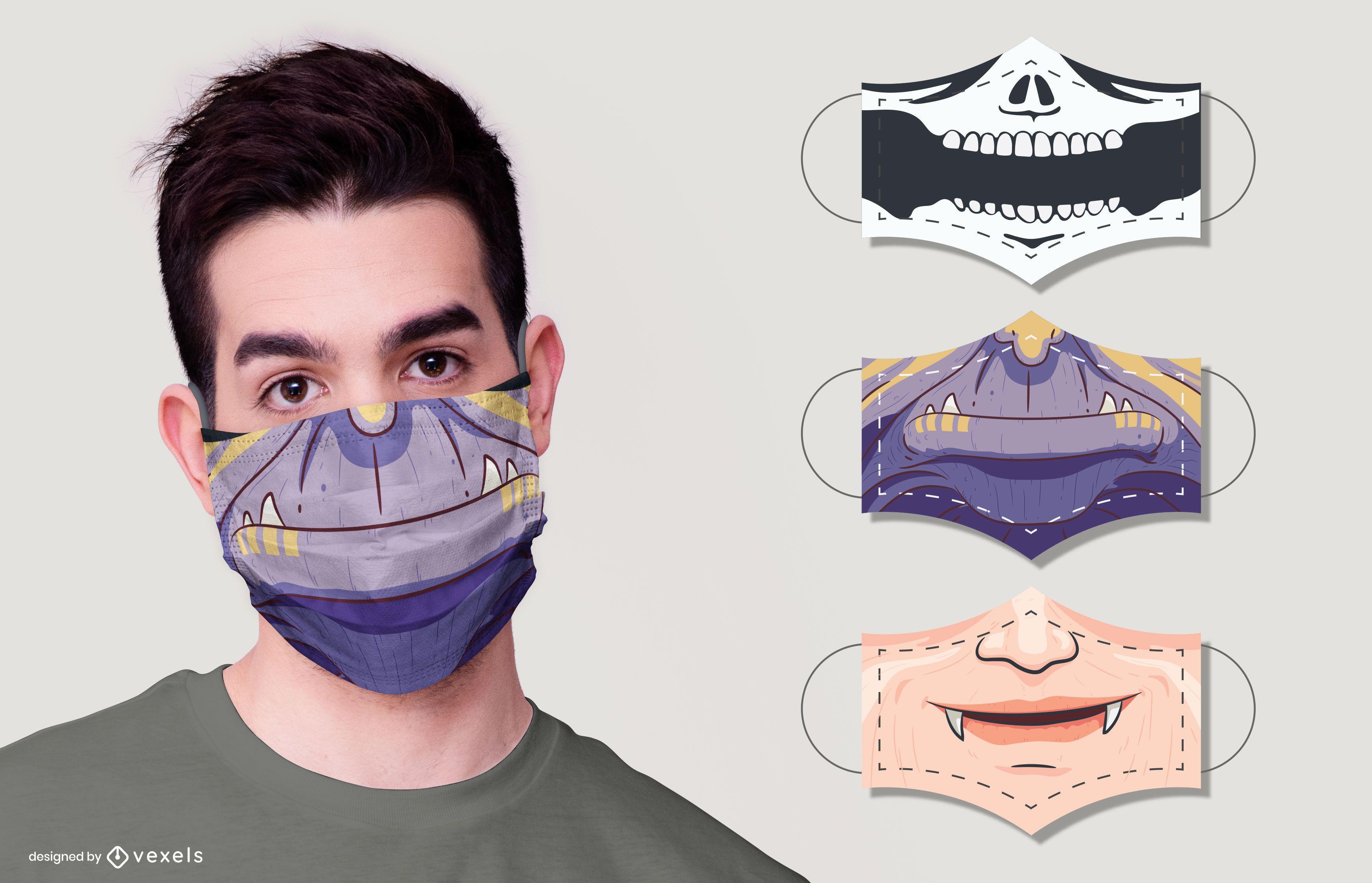 Monsters face mask design set