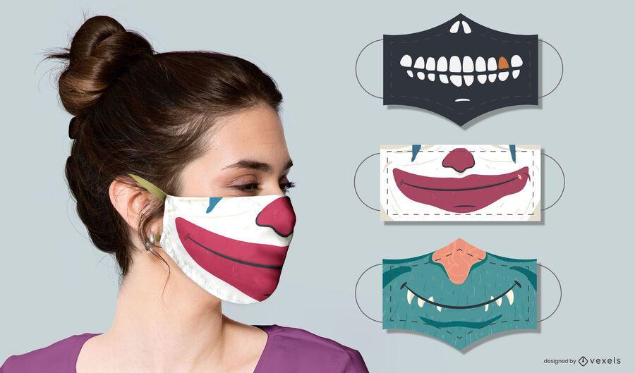 conjunto de diseño de máscara facial de criaturas