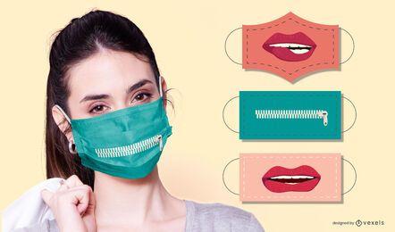 conjunto de diseño de mascarilla facial de bocas