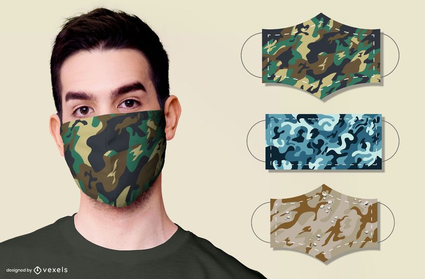 conjunto de diseño de mascarilla de camuflaje