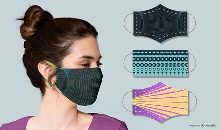 abstract face mask design set