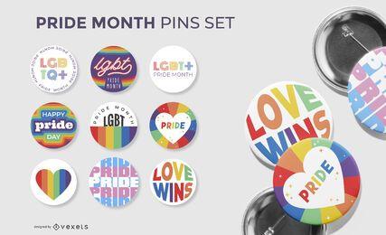 coleção de broches do mês do orgulho