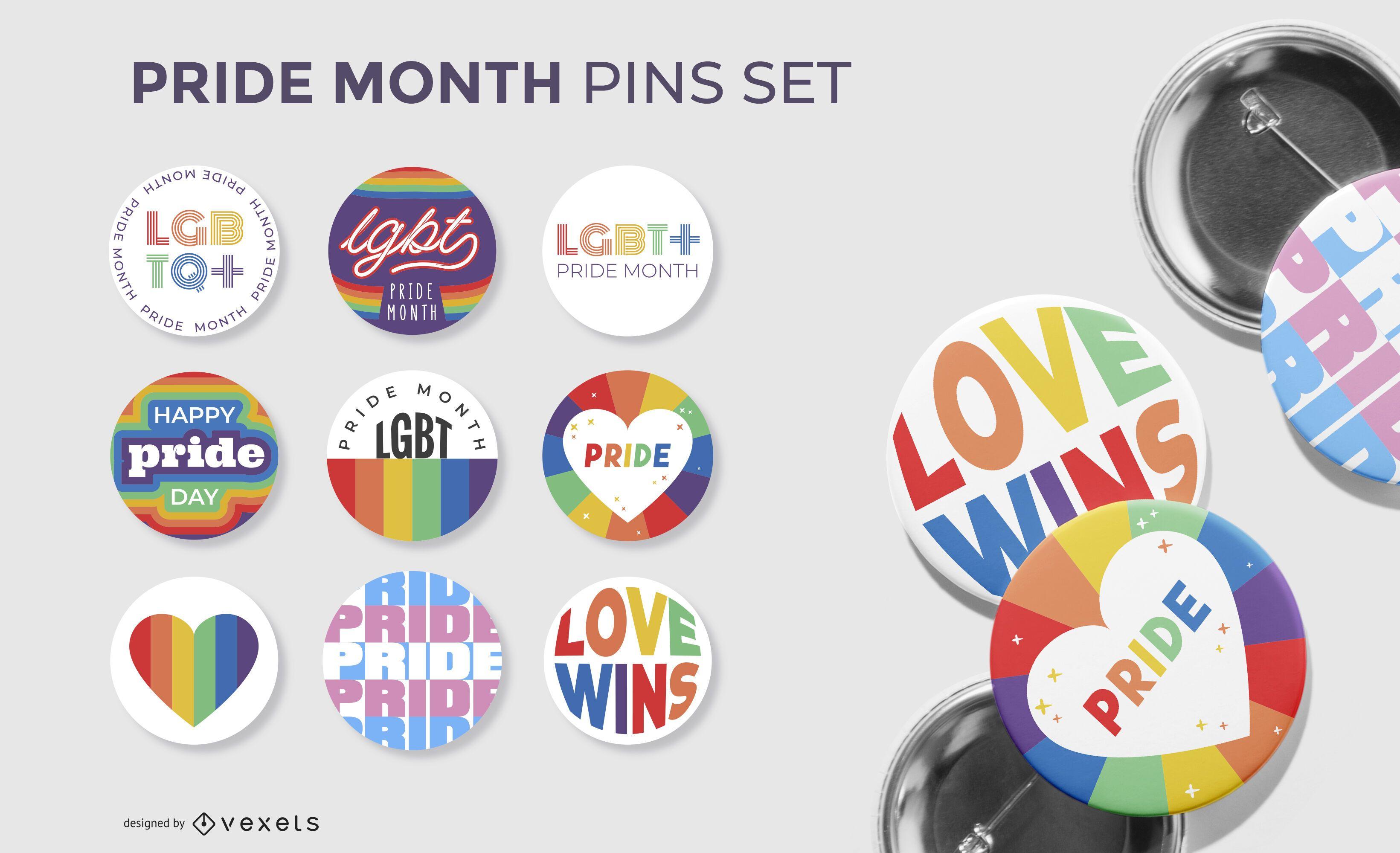 colección de pines del mes del orgullo