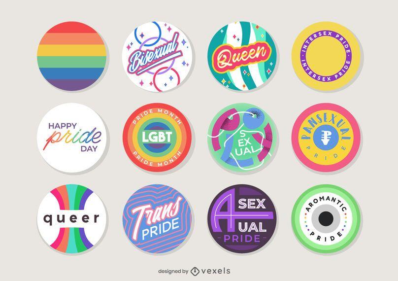 design de conjunto de pinos de mês de orgulho