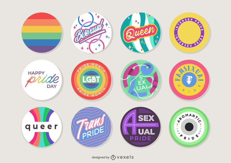 pride month pins set design