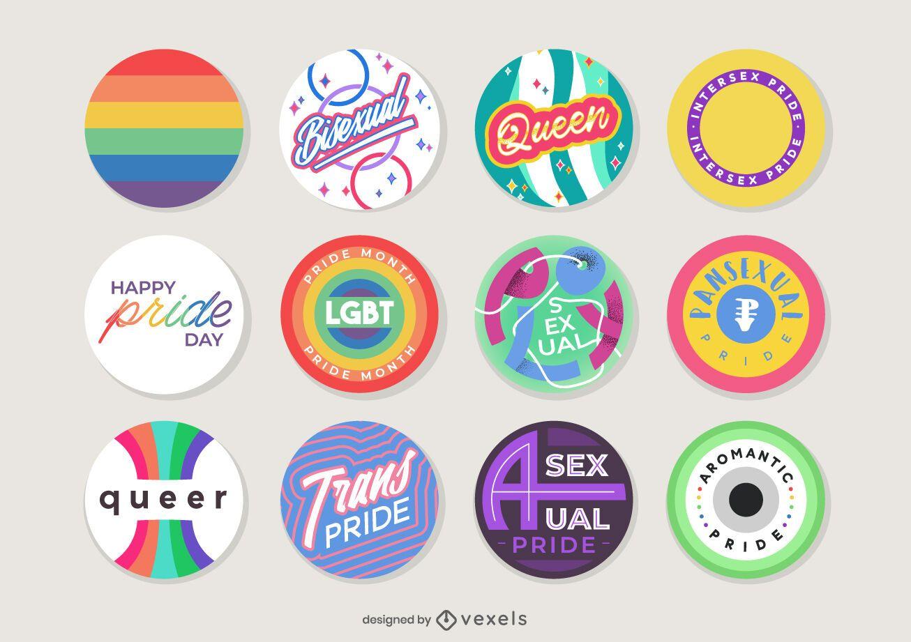 pride month pins set design