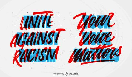unite against racism lettering set