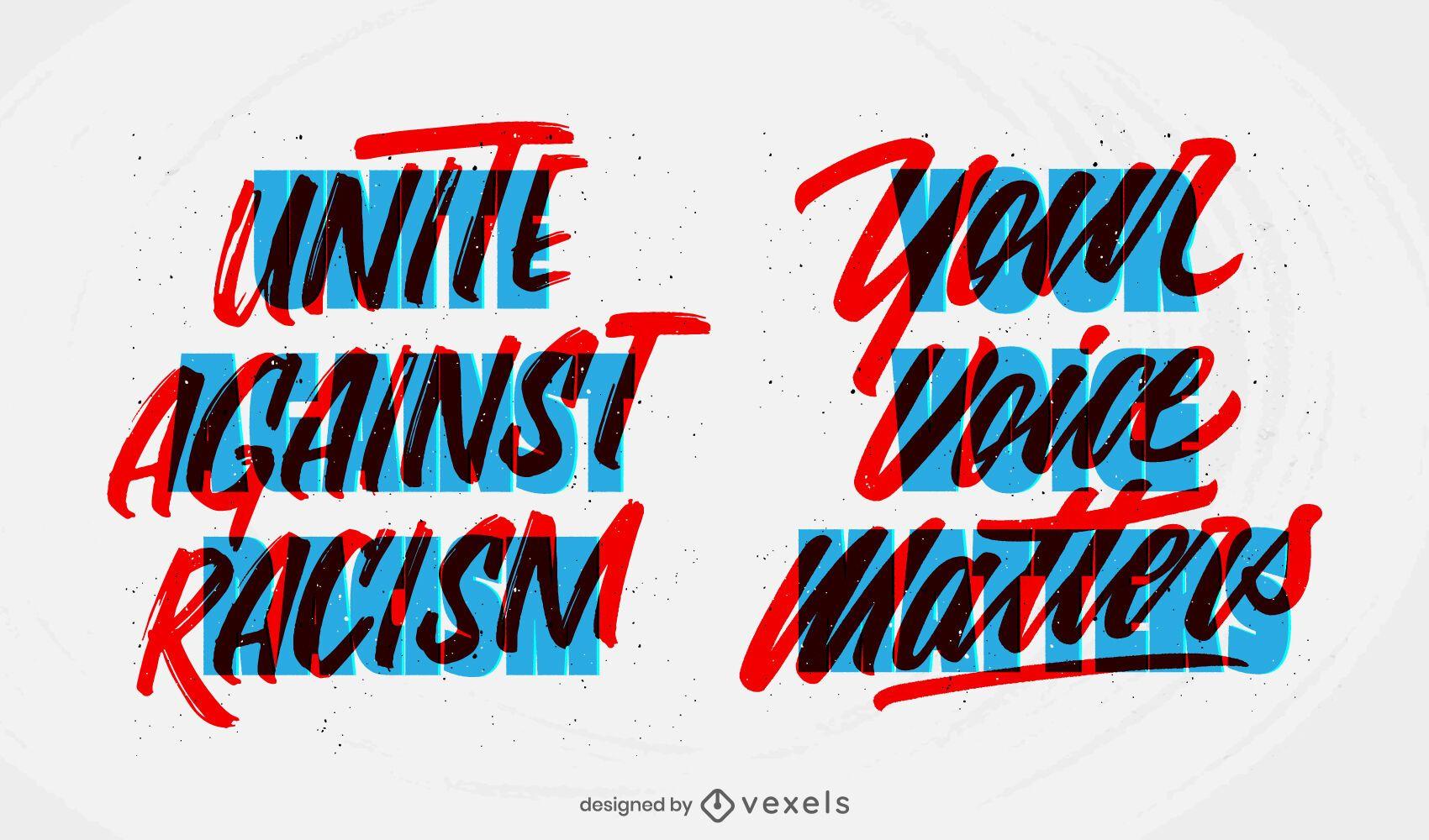 unite against racism lettering set