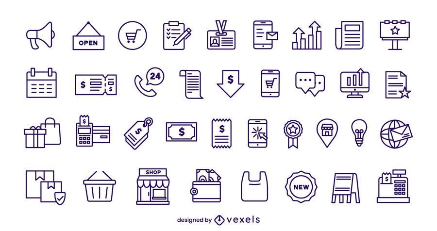 Business and Commerce Stroke Icon Set
