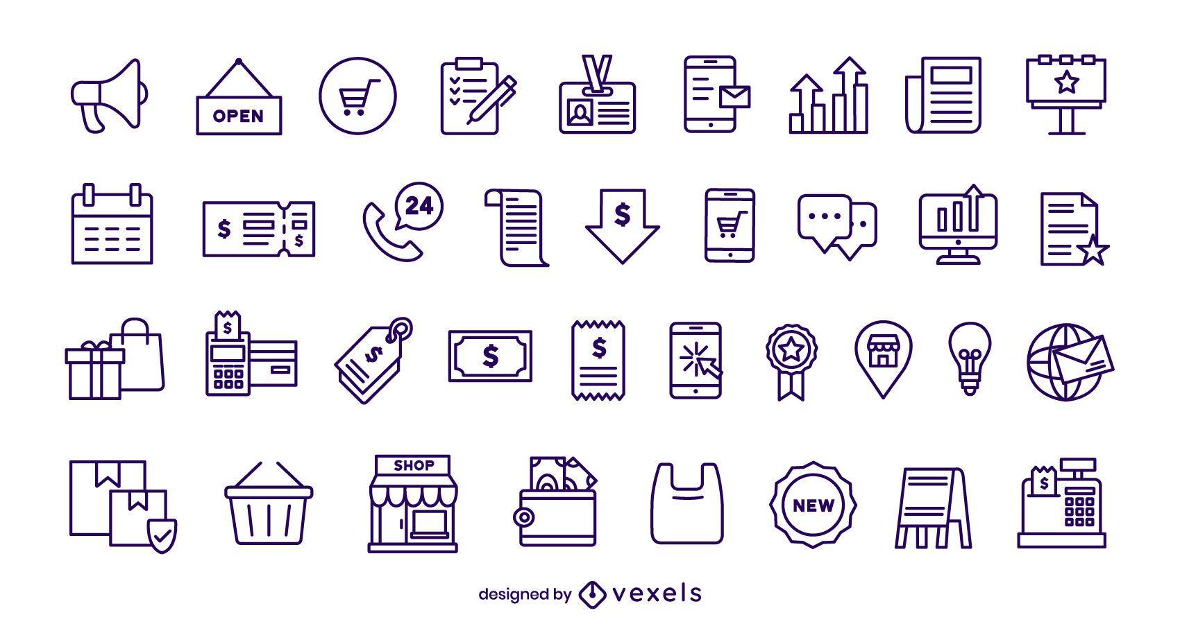 Conjunto de iconos de trazo de negocios y comercio