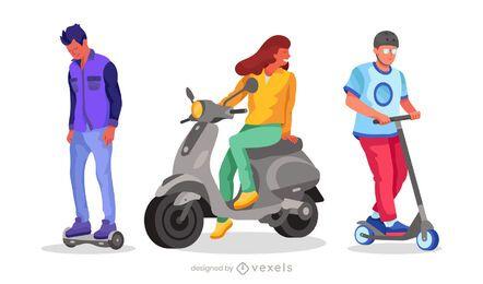 conjunto de caracteres de scooter plano