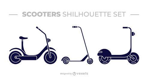 Conjunto de diseño de silueta de scooter