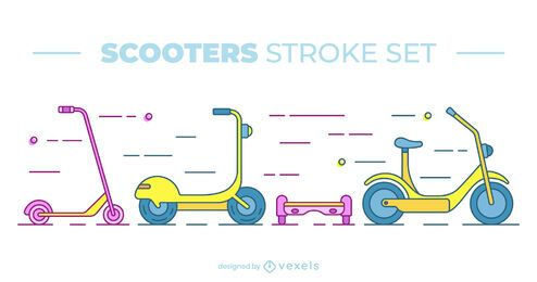 Conjunto colorido de scooter plano