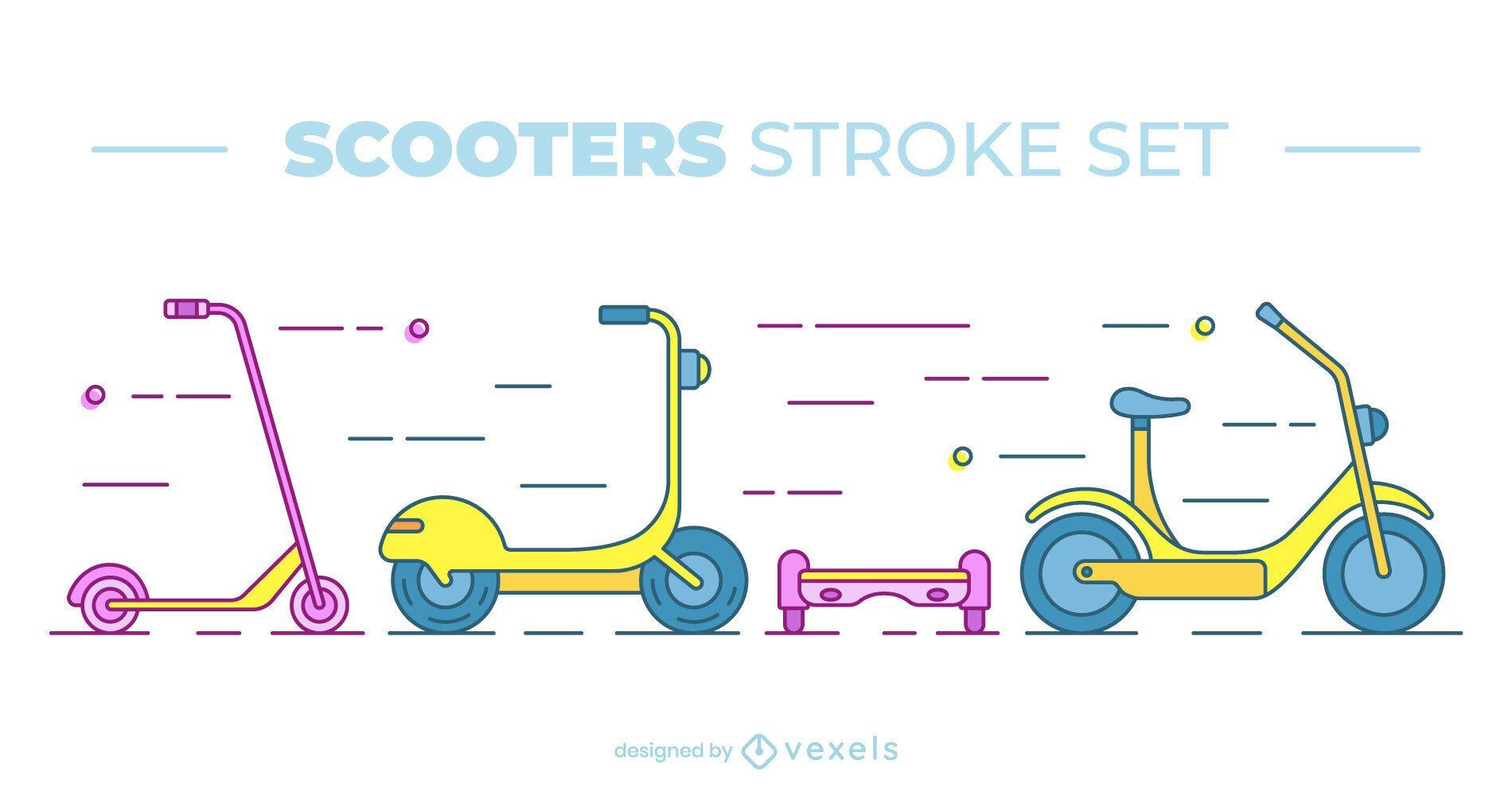 Colorido conjunto de scooter plano