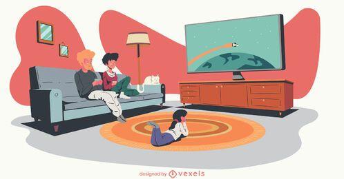 família assistindo tv ilustração