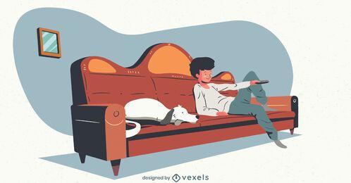 Chico con ilustración de televisión de perro