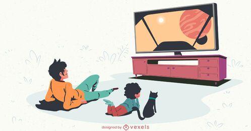 homem e criança televisão ilustração