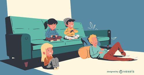 Familia viendo la ilustración de televisión