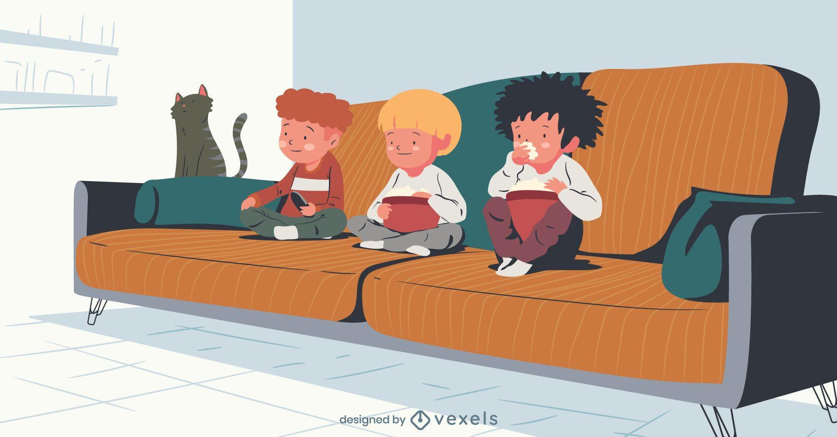 crianças assistindo tv ilustração