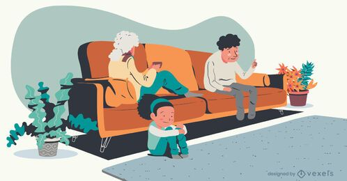 ilustração de televisão de avós