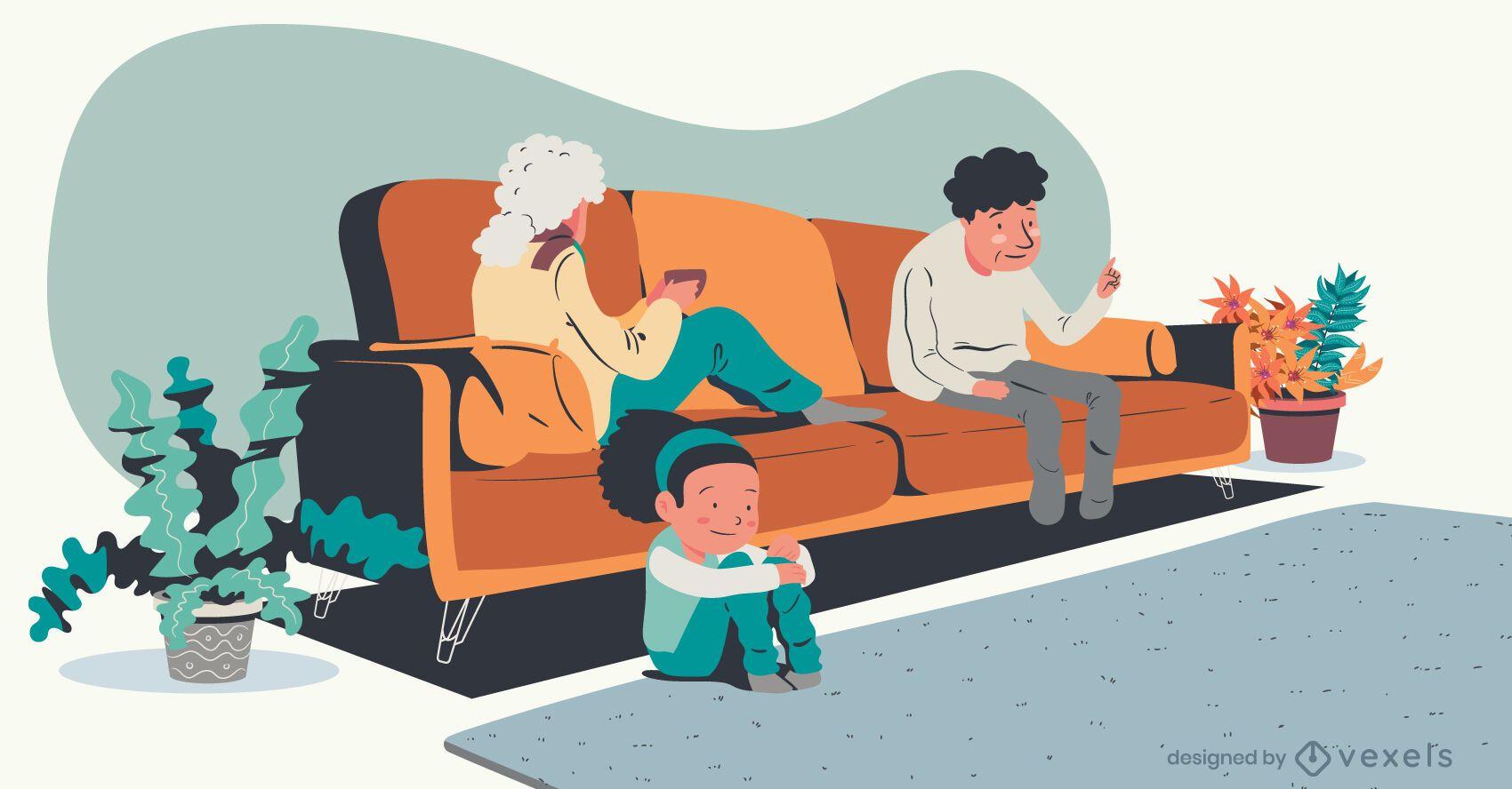 ilustración de televisión de abuelos