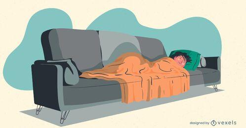 homem assistindo tv ilustração