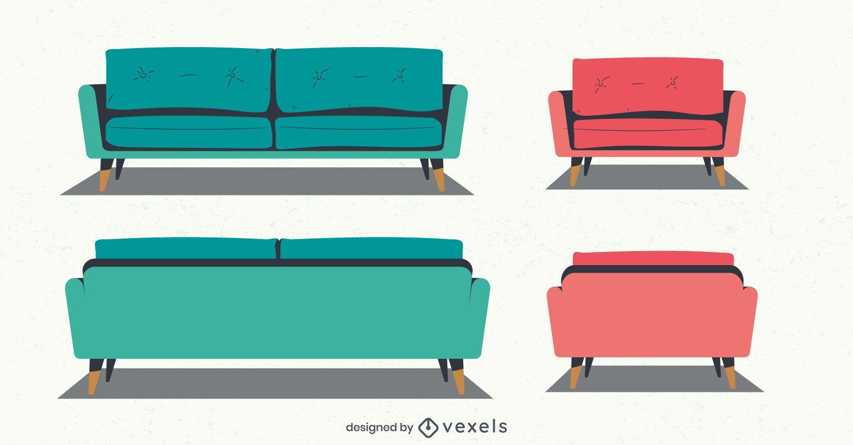 conjunto de ilustração de cadeira de sofá