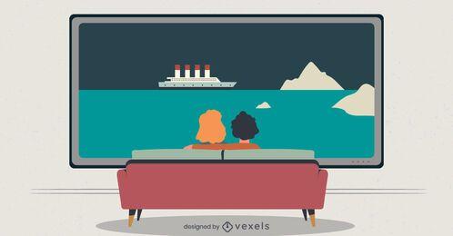 pareja viendo la ilustración de tv