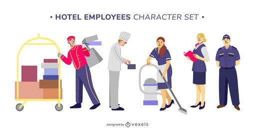conjunto de caracteres dos funcionários do hotel
