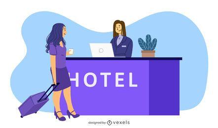 Ilustración de recepción del hotel