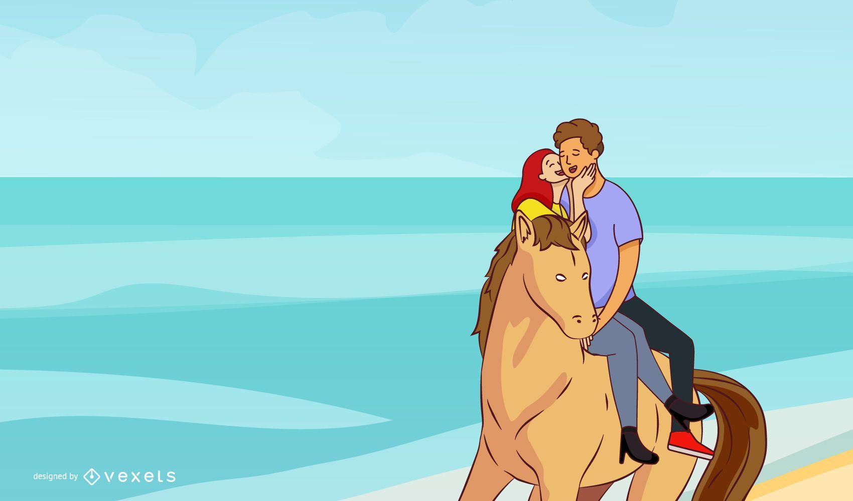 Couple on a horse vector