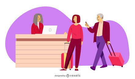ilustración de pareja de recepción de hotel