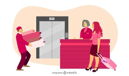 hotel reception porter illustration