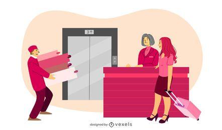 ilustração de porter de recepção de hotel